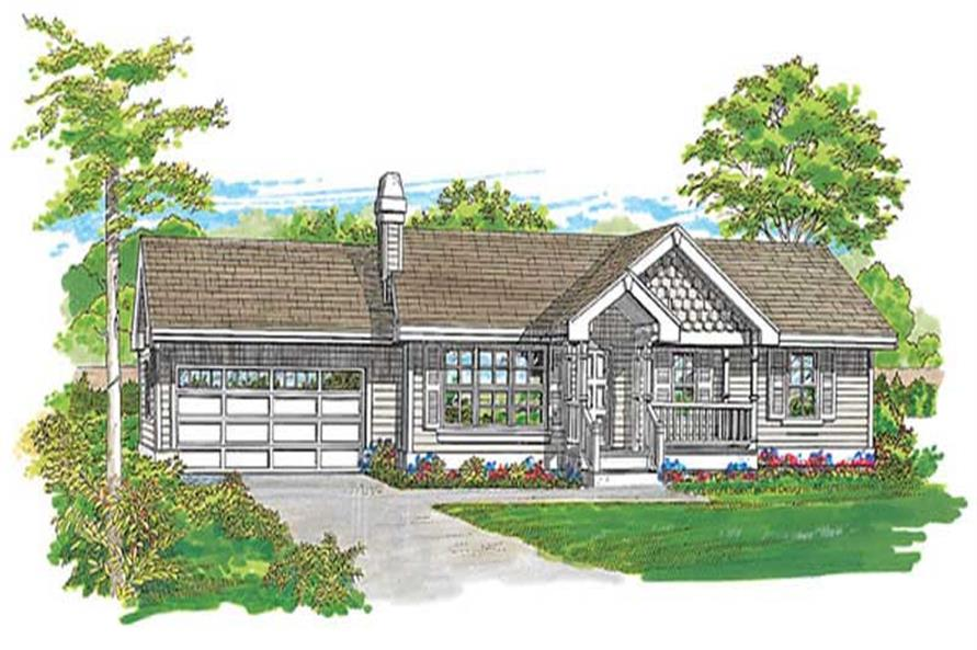 3-Bedroom, 1092 Sq Ft Country House Plan - 167-1218 - Front Exterior