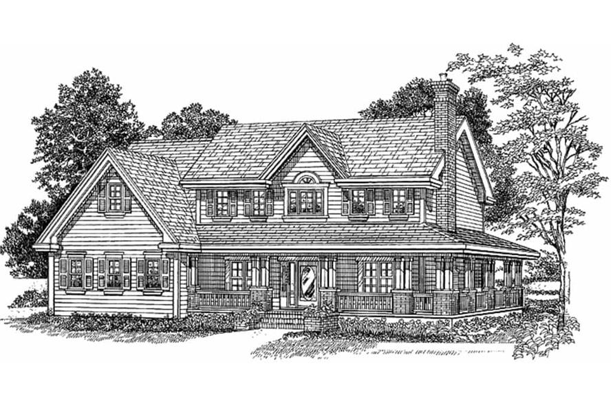 Home Plan Rendering with Farmhouse Exterior of this 4-Bedroom,3015 Sq Ft Plan -167-1223
