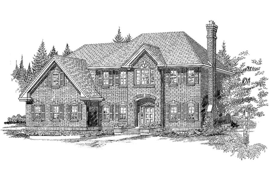 Home Plan Rendering with Traditional Brick Exterior of this 4-Bedroom,3015 Sq Ft Plan -167-1223