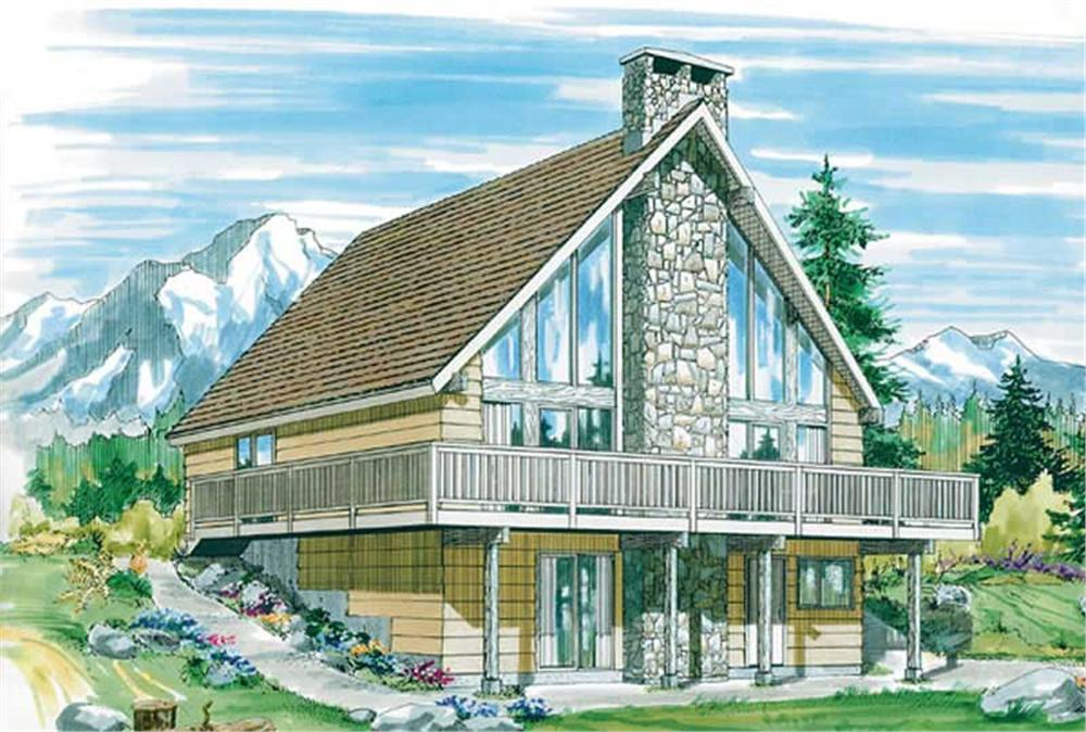 Front elevation of A Frame home (ThePlanCollection: House Plan #167-1226)