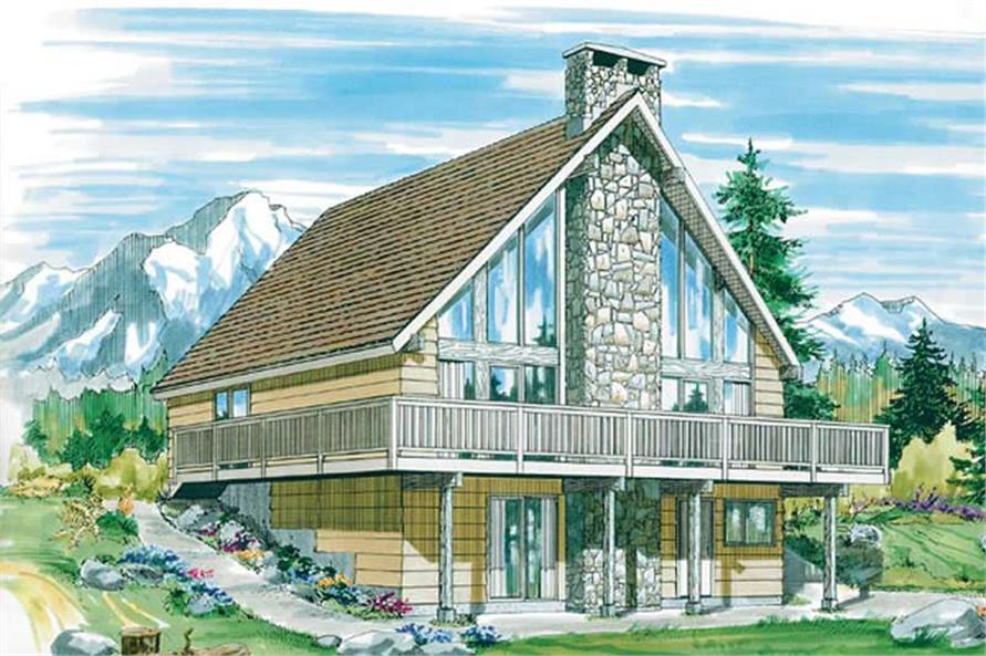 3-Bedroom, 1197 Sq Ft Log Cabin House Plan - 167-1226 - Front Exterior