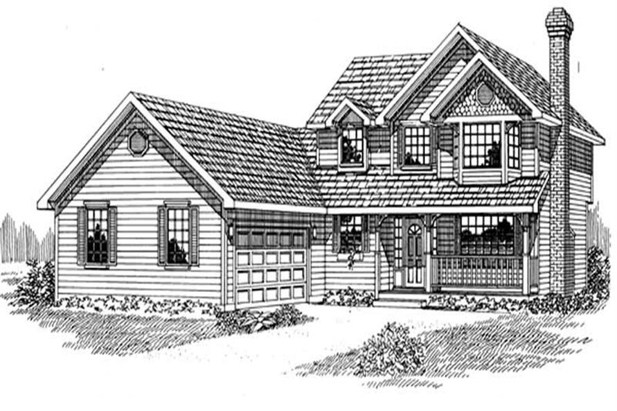 4-Bedroom, 2086 Sq Ft Country Home Plan - 167-1242 - Main Exterior