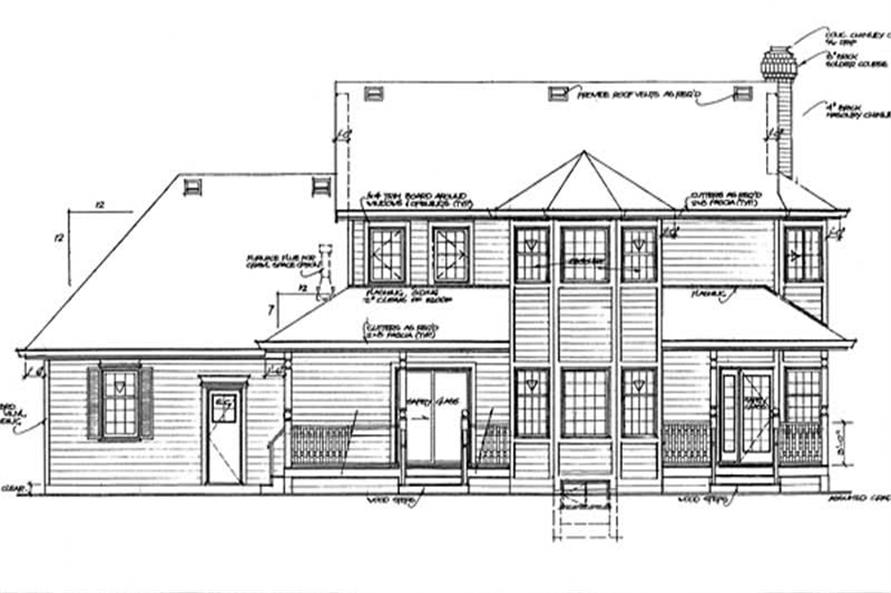 Home Plan Rear Elevation of this 4-Bedroom,2381 Sq Ft Plan -167-1249