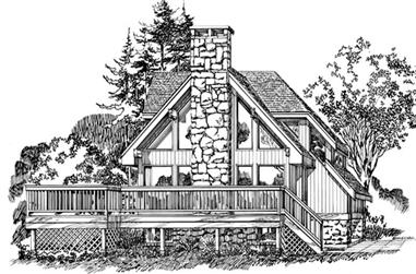 3-Bedroom, 1622 Sq Ft Log Cabin House Plan - 167-1252 - Front Exterior