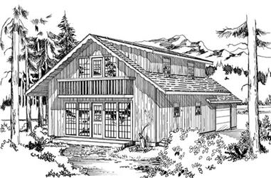 4-Bedroom, 1680 Sq Ft Log Cabin House Plan - 167-1258 - Front Exterior