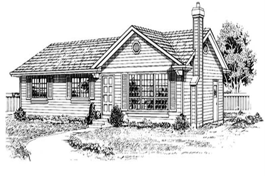 Front Elevation of this 3-Bedroom,1196 Sq Ft Plan -1196