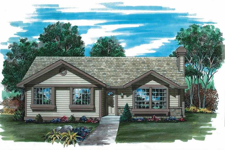 3-Bedroom, 1197 Sq Ft Ranch Home Plan - 167-1261 - Main Exterior