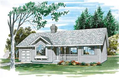 3-Bedroom, 1233 Sq Ft Country Home Plan - 167-1262 - Main Exterior