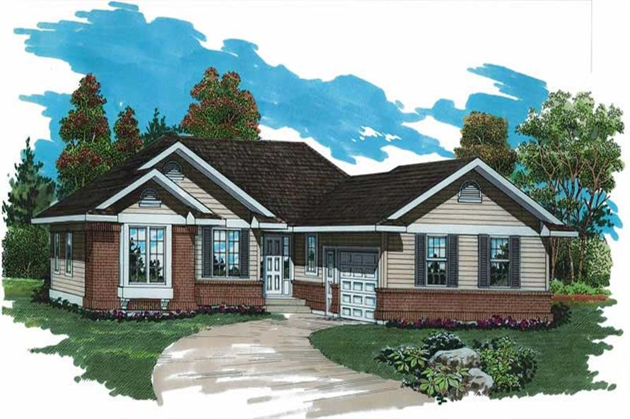 Home Plan Rendering of this 3-Bedroom,1295 Sq Ft Plan -167-1264