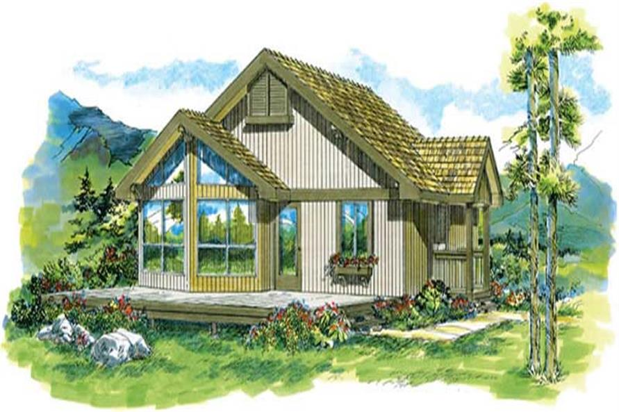 2-Bedroom, 825 Sq Ft Log Cabin Home Plan - 167-1277 - Main Exterior