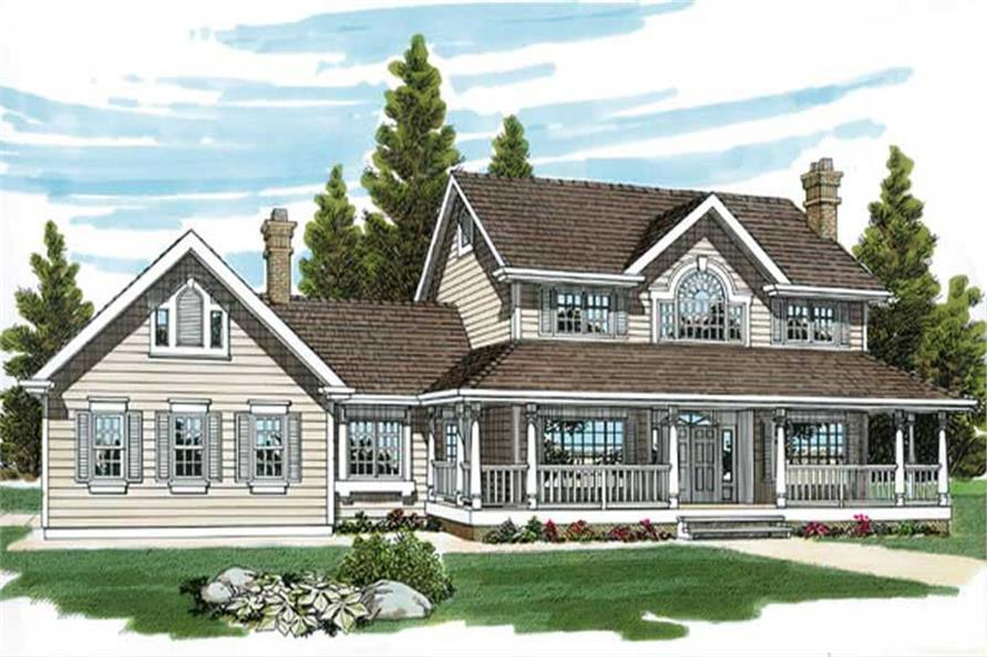 4-Bedroom, 2797 Sq Ft Country Home Plan - 167-1284 - Main Exterior