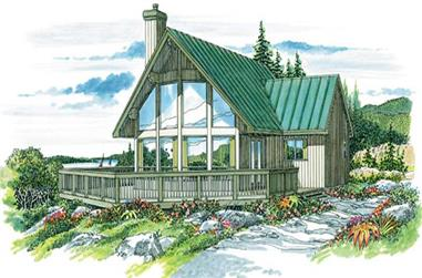 3-Bedroom, 1256 Sq Ft Log Cabin Home Plan - 167-1288 - Main Exterior