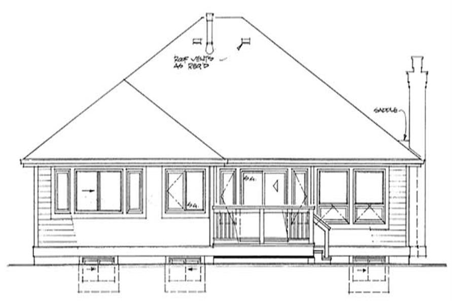 Home Plan Rear Elevation of this 3-Bedroom,1911 Sq Ft Plan -167-1290