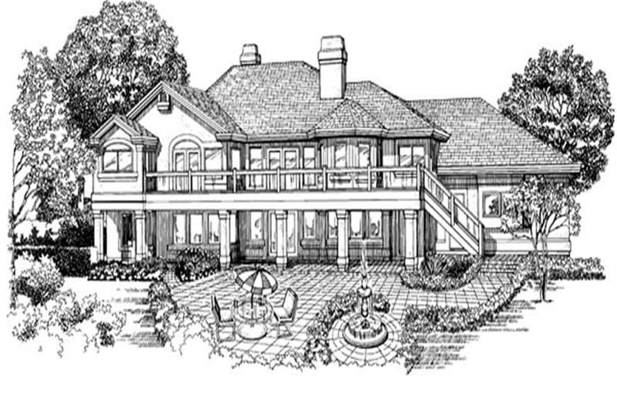 Home Plan Rear Elevation of this 3-Bedroom,2572 Sq Ft Plan -167-1291