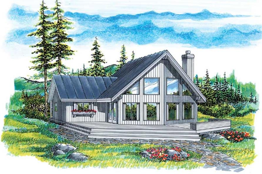 3-Bedroom, 1427 Sq Ft Log Cabin House Plan - 167-1292 - Front Exterior