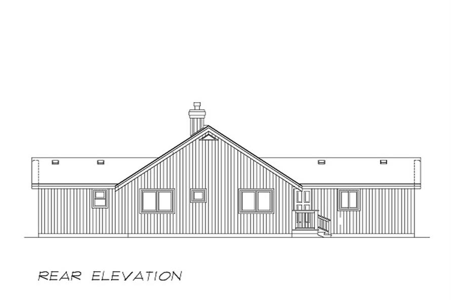 Home Plan Rear Elevation of this 3-Bedroom,1495 Sq Ft Plan -167-1293