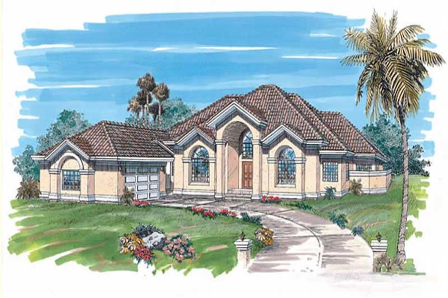 3-Bedroom, 3018 Sq Ft Southwest Home Plan - 167-1296 - Main Exterior