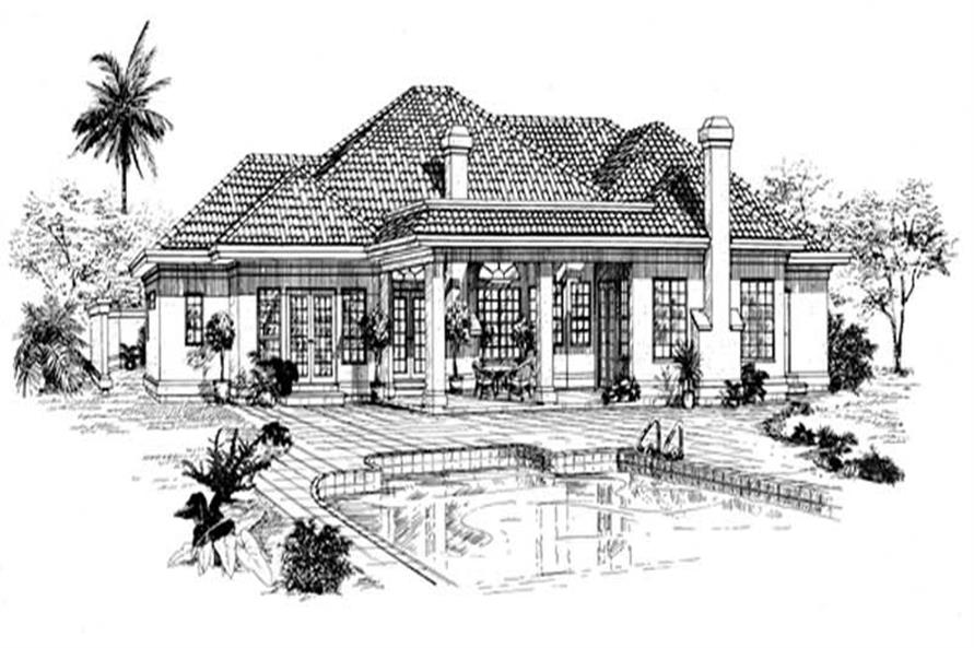 Home Plan Rear Elevation of this 3-Bedroom,3018 Sq Ft Plan -167-1296