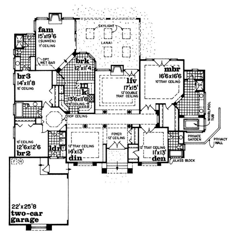Southwest house plans home design sea216 7219 for Southwest house floor plans