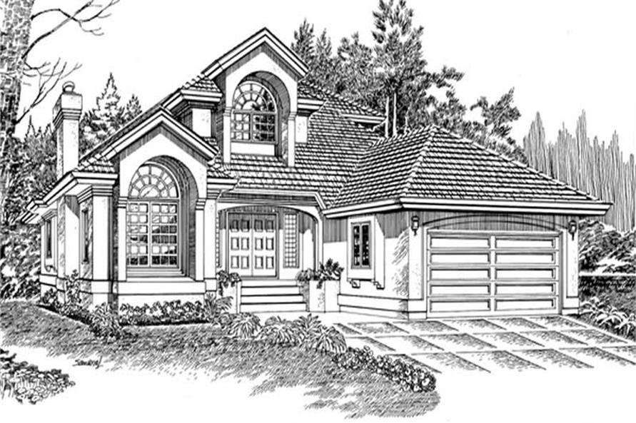 3-Bedroom, 2259 Sq Ft European House Plan - 167-1298 - Front Exterior