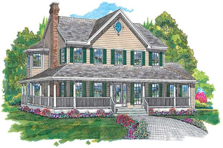 4-Bedroom, 2582 Sq Ft Country House Plan - 167-1299 - Front Exterior