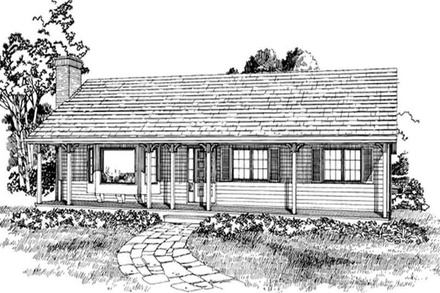 Front Elevation of this 3-Bedroom,1254 Sq Ft Plan -1254