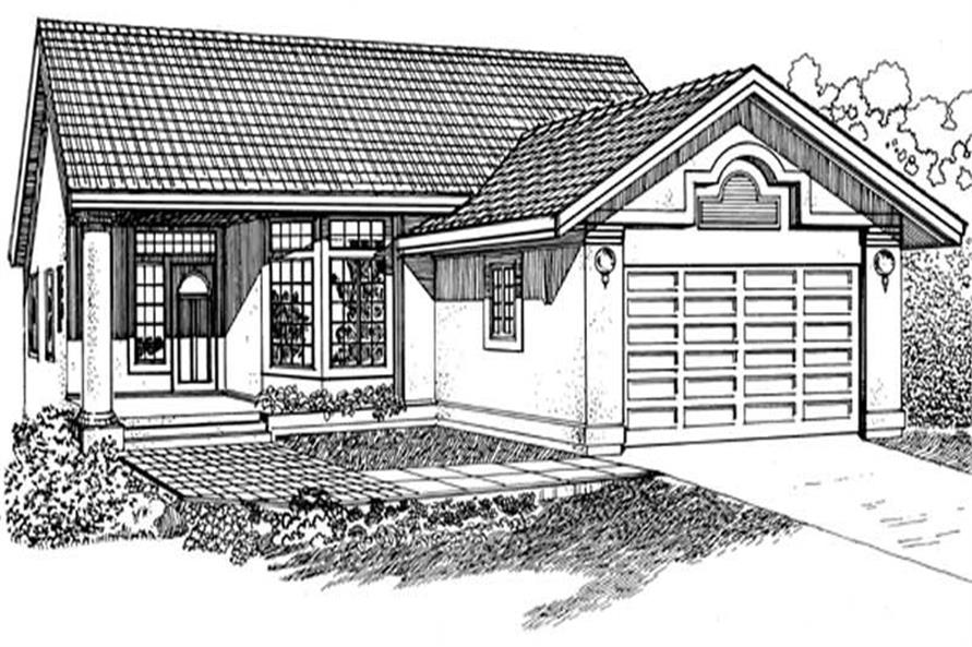 3-Bedroom, 1365 Sq Ft Contemporary House Plan - 167-1303 - Front Exterior