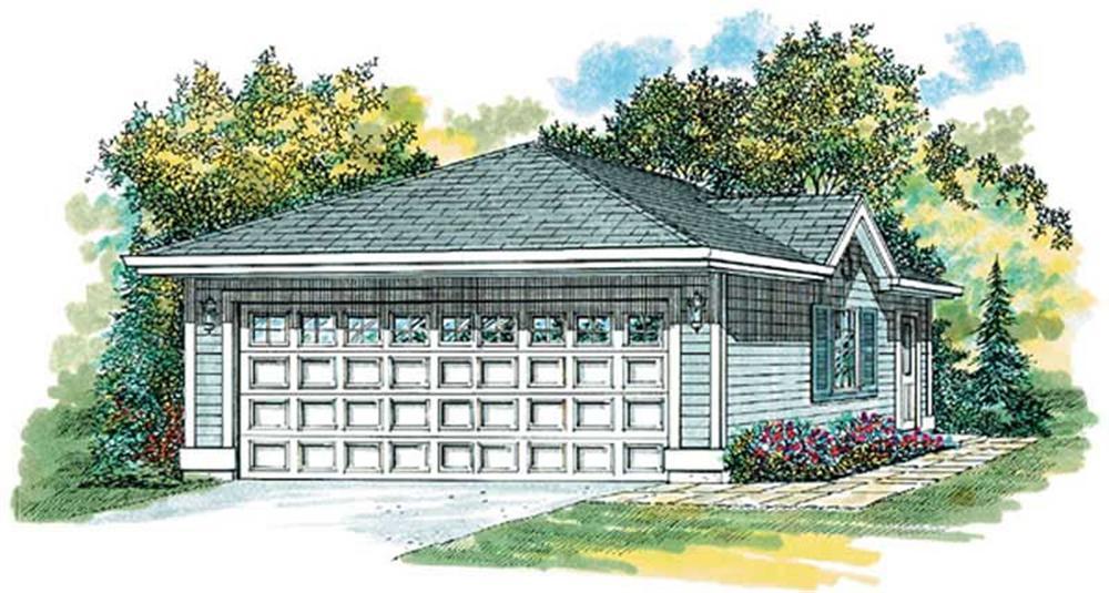 Rendering of Garage plan (ThePlanCollection: House Plan #167-1304)