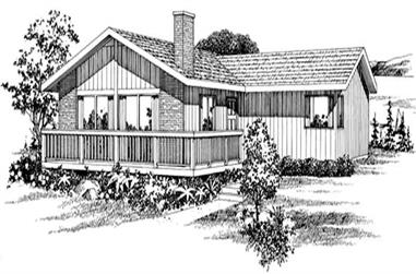 3-Bedroom, 1244 Sq Ft Contemporary House Plan - 167-1325 - Front Exterior