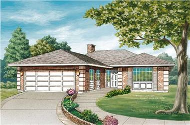 3-Bedroom, 1385 Sq Ft Contemporary House Plan - 167-1327 - Front Exterior