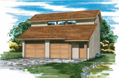 2-Car, 992 Sq Ft Garage Home Plan - 167-1345 - Main Exterior