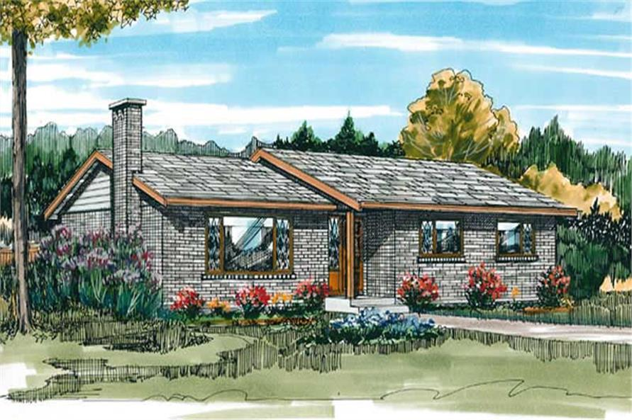 3-Bedroom, 1248 Sq Ft Ranch House Plan - 167-1353 - Front Exterior