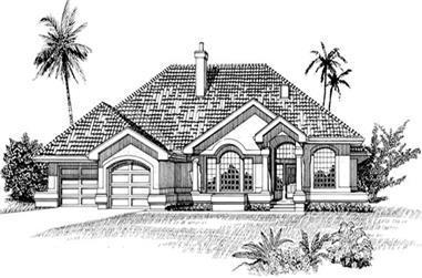 3-Bedroom, 2257 Sq Ft Mediterranean House Plan - 167-1354 - Front Exterior