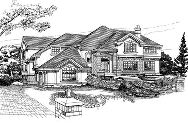 4-Bedroom, 4829 Sq Ft European Home Plan - 167-1370 - Main Exterior