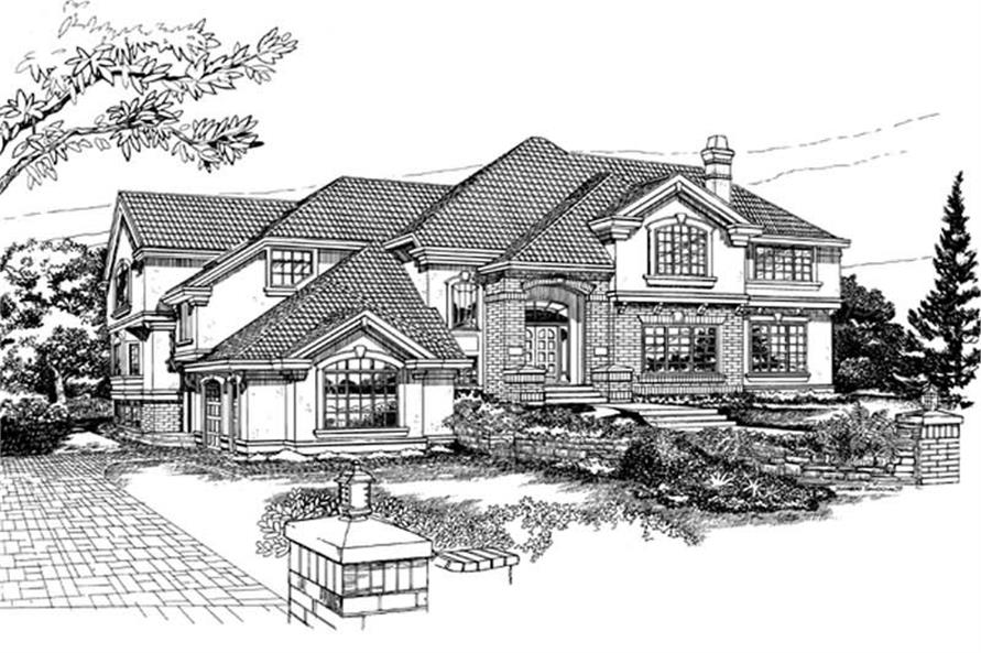 4-Bedroom, 4829 Sq Ft European Home Plan - 167-1370 - Main Exterior