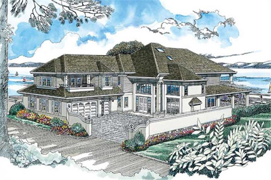 4-Bedroom, 5159 Sq Ft Coastal House Plan - 167-1372 - Front Exterior