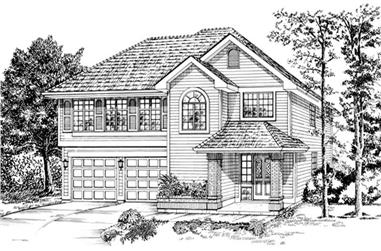 3-Bedroom, 1348 Sq Ft Small House Plans - 167-1374 - Front Exterior