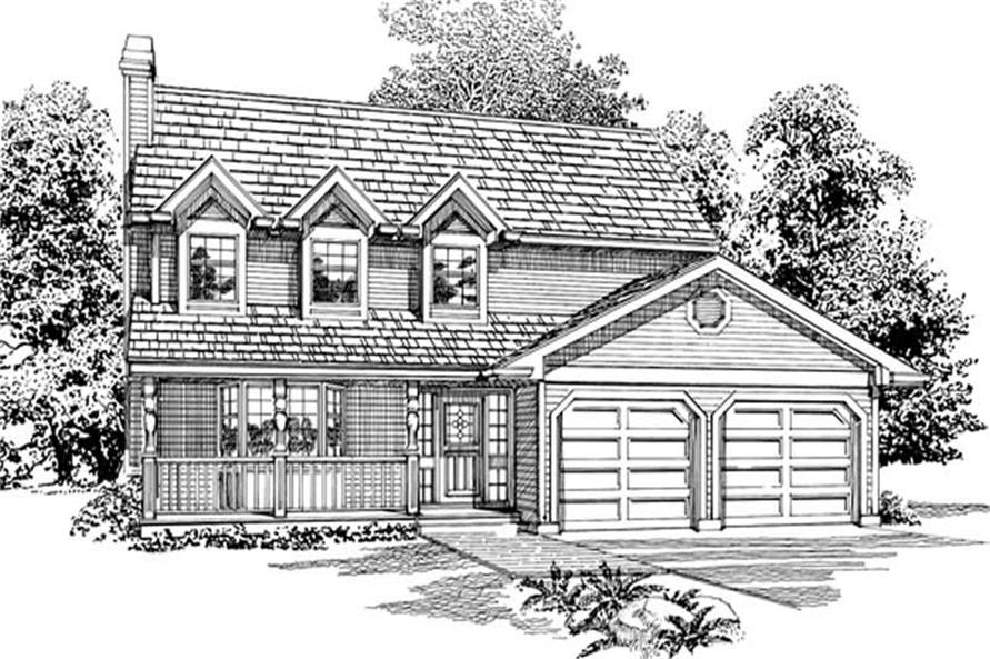 3-Bedroom, 1413 Sq Ft Country House Plan - 167-1383 - Front Exterior