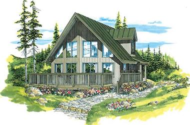 3-Bedroom, 1543 Sq Ft Log Cabin Home Plan - 167-1384 - Main Exterior