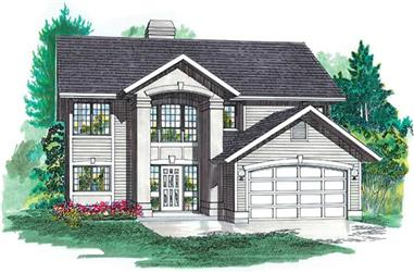 3-Bedroom, 1368 Sq Ft Contemporary House Plan - 167-1385 - Front Exterior
