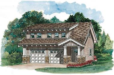 1-Bedroom, 679 Sq Ft Garage House Plan - 167-1396 - Front Exterior