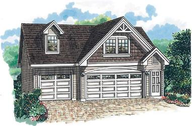 1-Bedroom, 676 Sq Ft Garage House Plan - 167-1397 - Front Exterior