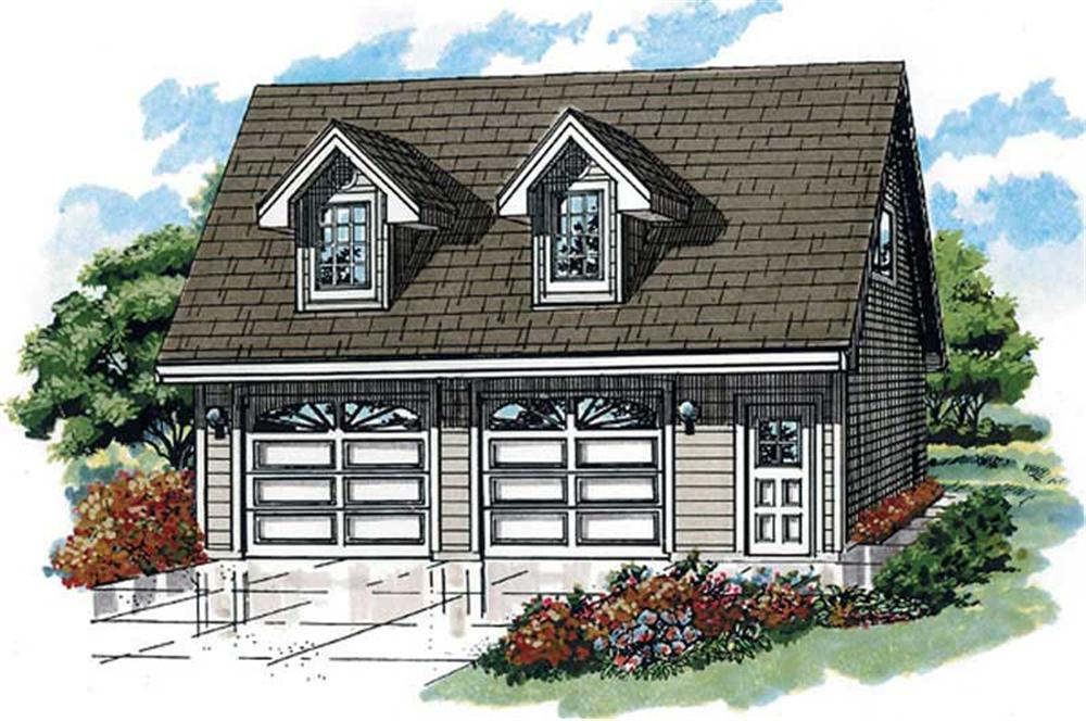 Front elevation of Garage w/Apartments home (ThePlanCollection: House Plan #167-1398)