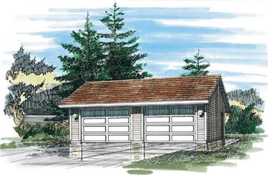 1-Bedroom, 528 Sq Ft Garage Home Plan - 167-1400 - Main Exterior