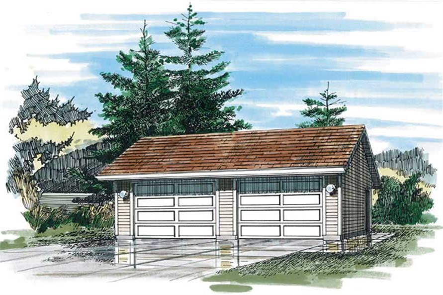 1-Bedroom, 528 Sq Ft Garage Home Plan - 167-1400 - Main Exterior