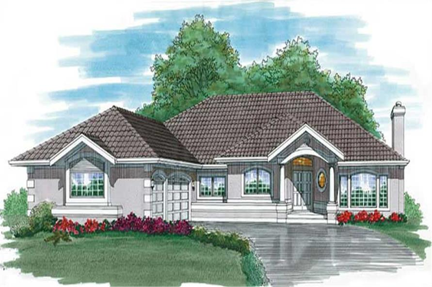 3-Bedroom, 2804 Sq Ft Mediterranean House Plan - 167-1401 - Front Exterior