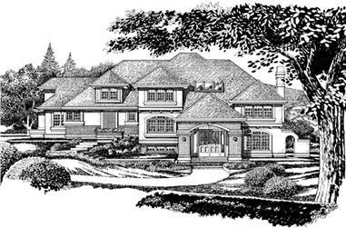 4-Bedroom, 4235 Sq Ft European House Plan - 167-1403 - Front Exterior