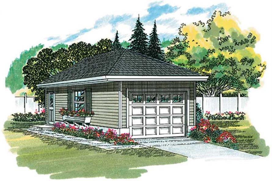 Color rendering of Garage home (ThePlanCollection: House Plan #167-1405)