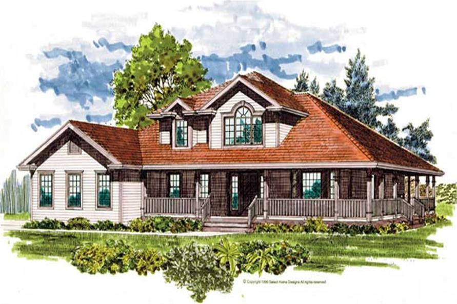 4-Bedroom, 2603 Sq Ft Country Home Plan - 167-1407 - Main Exterior