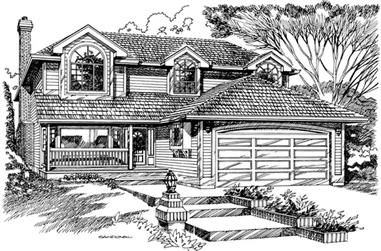 3-Bedroom, 1966 Sq Ft European House Plan - 167-1409 - Front Exterior